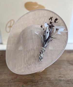 Large coffee cream saucer - black and white feathers and beaded detail detail