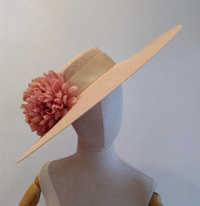 Pink spanish inspired sun hat with pink flowers