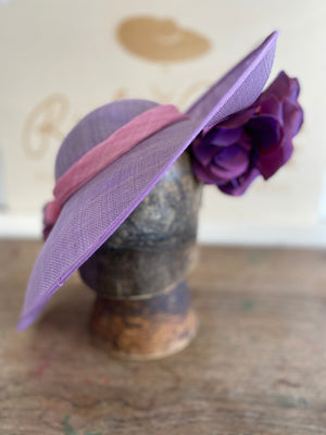Pink and purple percher hat with pink silk cheery blossoms.