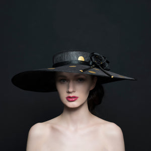 Large black brim hat with gold spots and silk black roses, Ascot, ladies day occasions