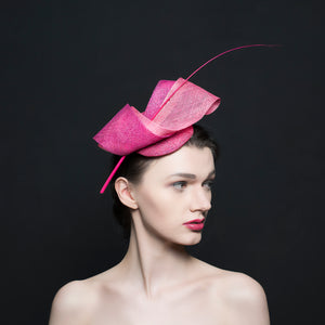 Pink fascinator, with quill and twists. perfect for weddings and ladies day. Rivka Jacobs millinery