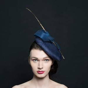Navy large button beret fascinator/hat with navy trimming and a gold pheasant feather, perfect for weddings, Ascot and Occasions