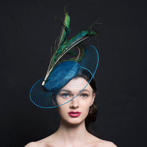 Sea Blue button beret, with blue veil stretch brim and peacock feathers, handmade in Exeter, Devon