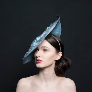 Light blue hat/Fascinator for mother of bride or special occasions, handmade in Exeter, Devon