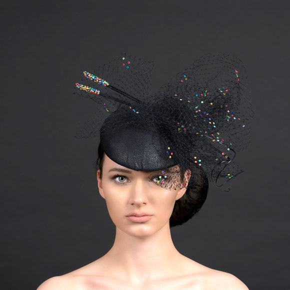black button beret fascinator with veiling and quills, perfect for Ascot