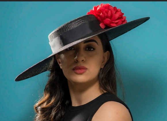 Black spanish inspired sun hat with red  flowers
