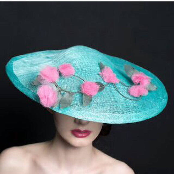 Blue saucer hat, mother of bride/groom - Ascot, ladies day