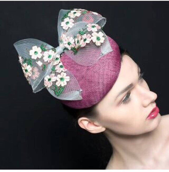 Purple/pink handles button beret, with oversized bow with embroidery flowers