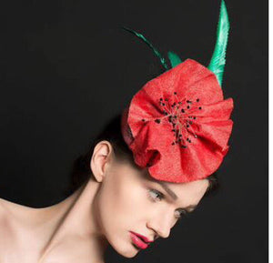 Miss Poppy - red fascinator hat