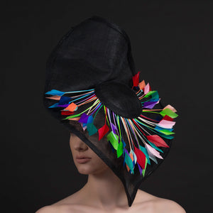 Colour burst- Black Fascinator/hat