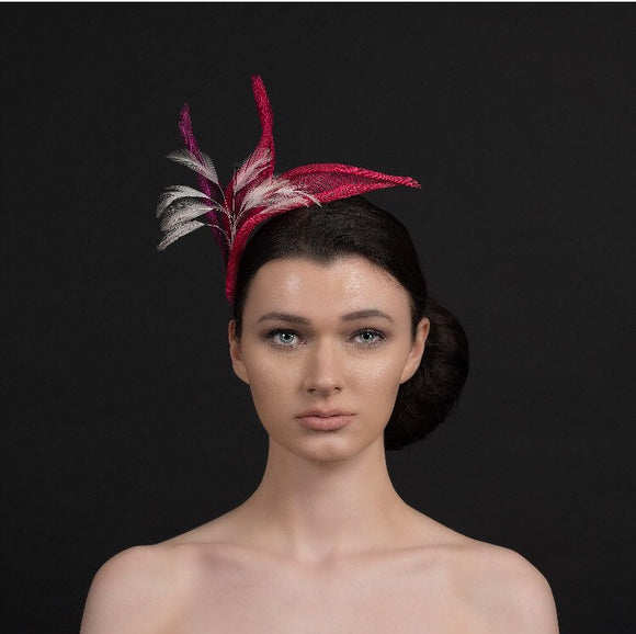 Pink fascinator,3 shades of pink with spray of light pink feathers perfect for weddings and ladies day. Rivka Jacobs millinery