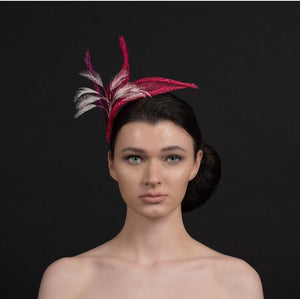 Pink fascinator - with light pink feathers.wedding fascinator, wedding guest fascinator