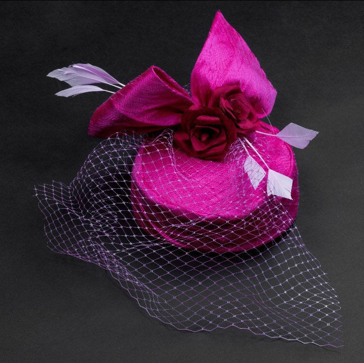 Valentine-Shocking pink silk pill box hat