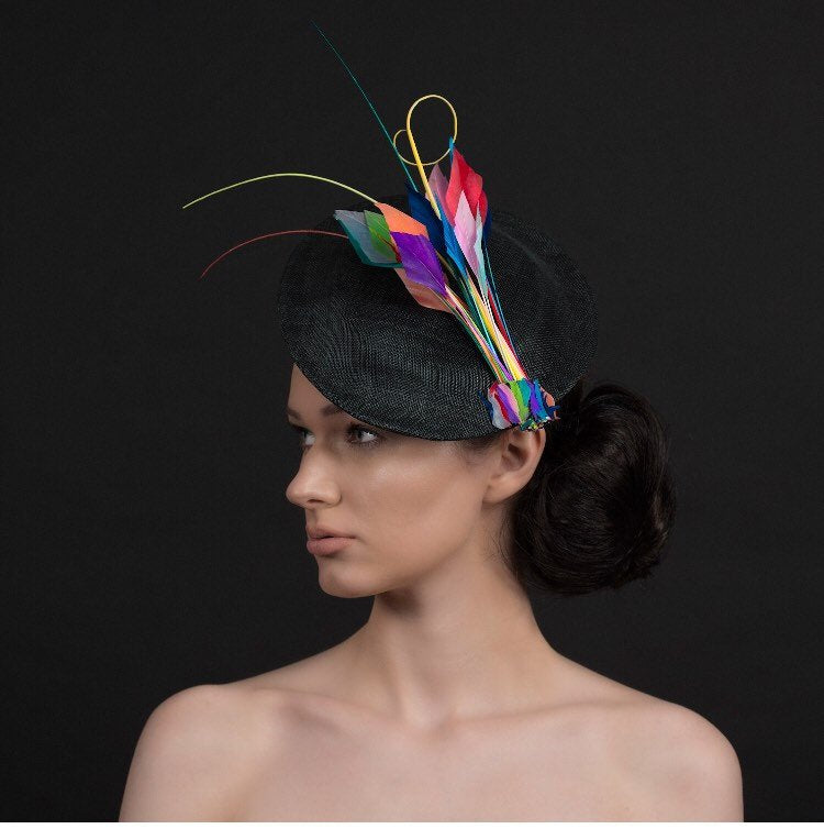 Spray of colour medium black saucer hat/fascinator