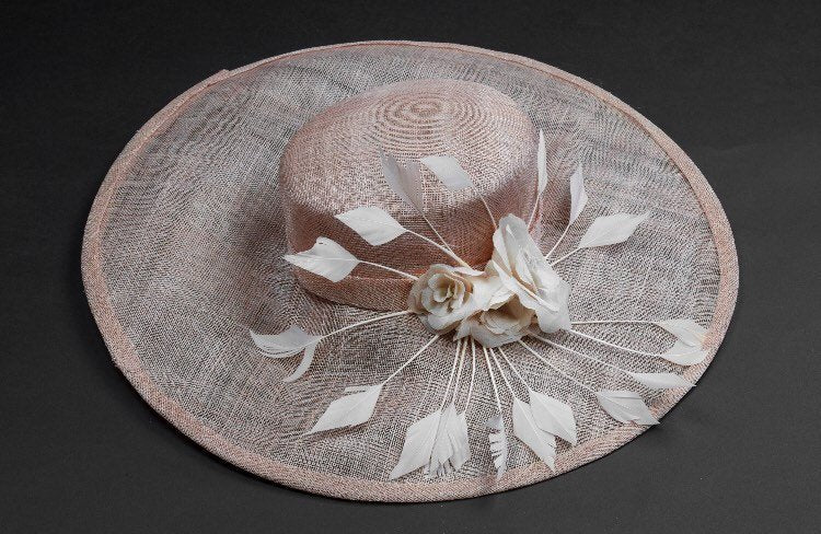 Blush/pink large brim hat for mothers of the bride
