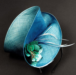 Turquoise blue fascinator, with blue leather rose and spray of feathers, perfect for ascot and weddings