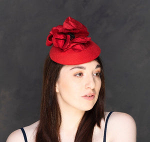 Perfect Poppy hat - red felt hat with red silk poppy. Rivka jacobs millinery