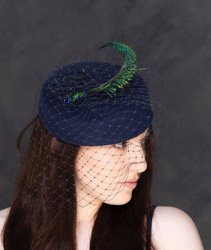 Peacock swords - navy pillbox hat