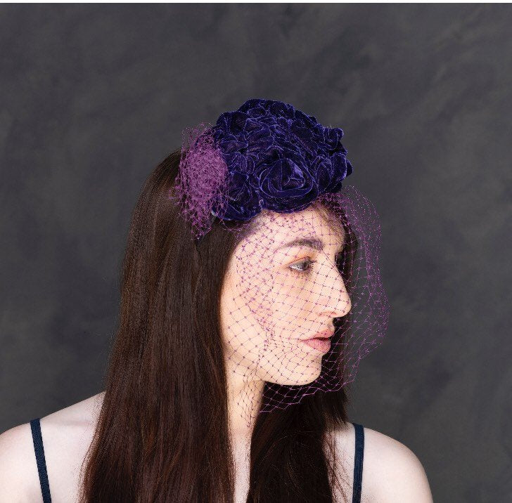 Purple velvet roses headband with bird cage veil