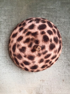 Leopard print mini beret fascinator