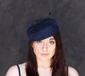 Peacock swords - navy blue pillbox hat. Rivka Jacobs, millinery