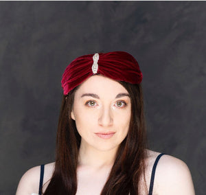Deep red silk velvet turban style headband