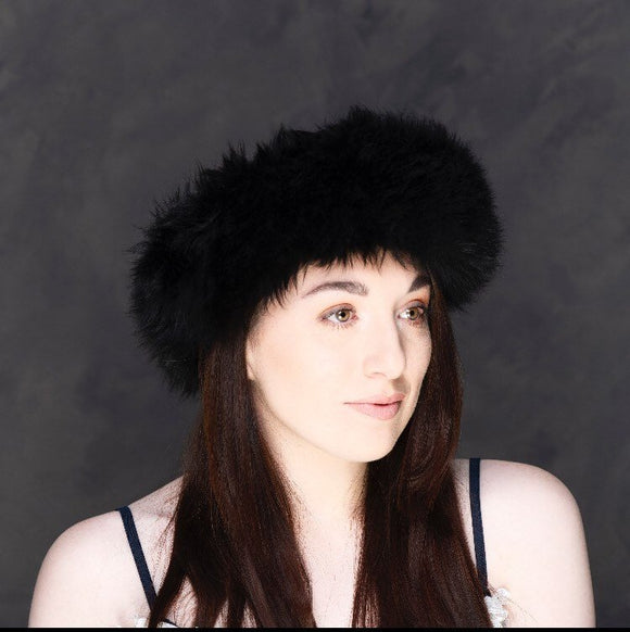 Sheepskin headband in black, white or brown, perfect for winter shopping and winter outtings