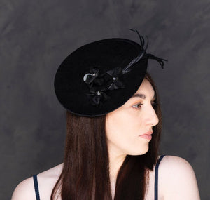 Black velvet saucer hat- perfect for weddings, Ascot, and occasions