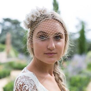 Silk rose half bridal crown with bird cage veil