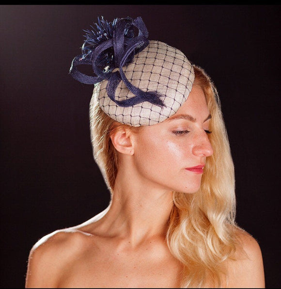 Navy and white hat/ beret hat for weddings, rivka jacobs, millinery
