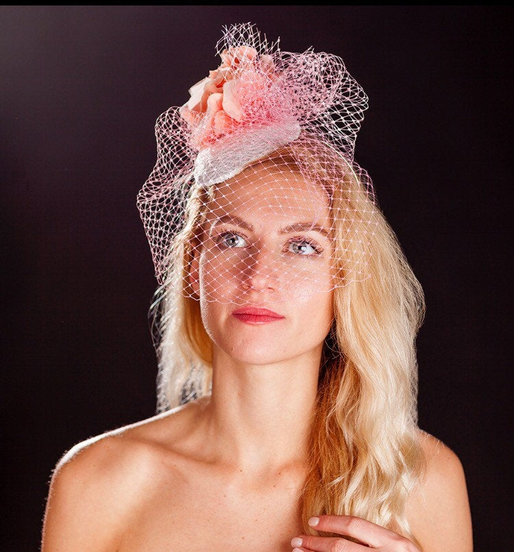 Pink bird cage veil, white lace base and pink rose fascinator