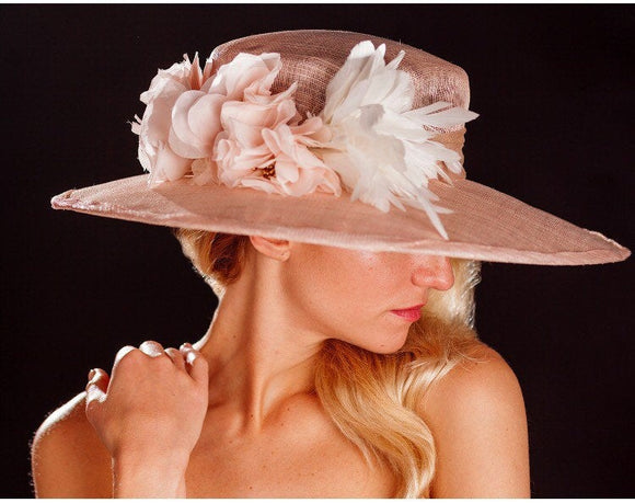 Big brimmed blush hat, with silk flowers and feathers