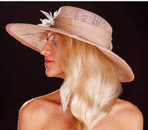 Light pink big brimmed wedding hat