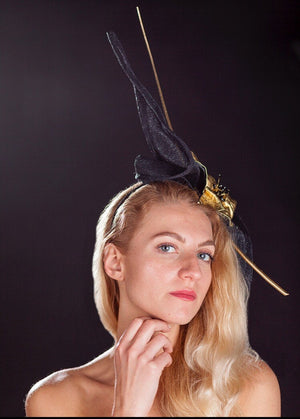 Black and gold ascot,derby fascinator