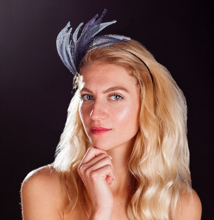 Navy and light blue crown fascinator