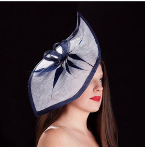 white and navy blue -Petal shaped fascinator/hat