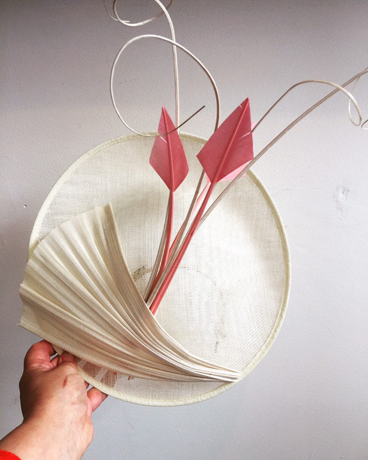 Cream saucer hat with pink and cream quills