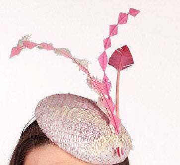 Wedding/races pink and white mini beret hat/fasconator