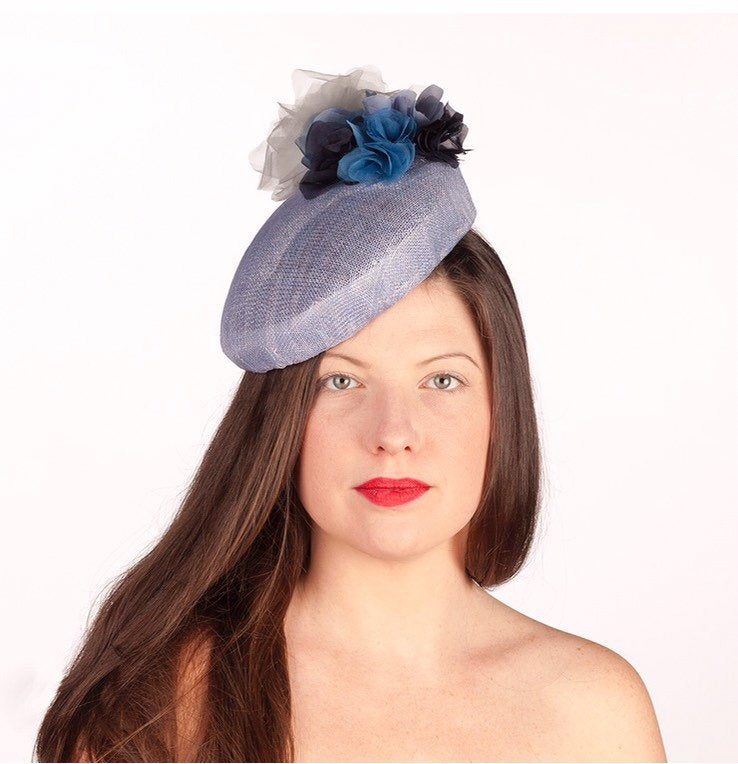 Blue dreams - light blue pearcher beret with a cluster of blue silk roses.