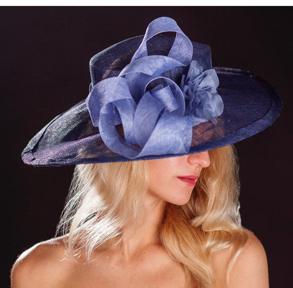 Navy Blue large brimmed wedding hat, with light blue ribbon and rose. rivka jacobs millinery