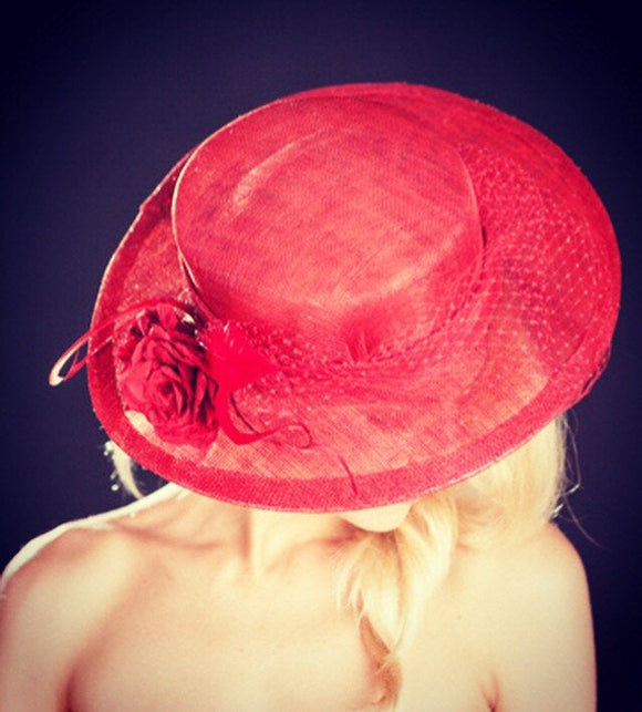 Red Rivka - Red boater style wedding/ascot hat