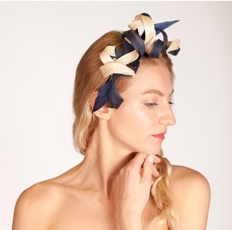 Navy and Cream fascinator