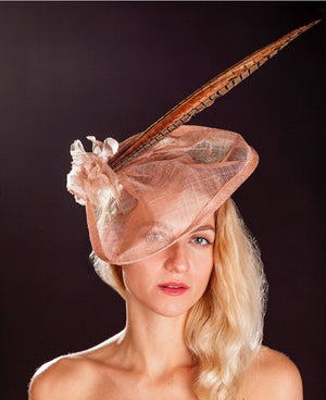 Light pink/Blush fascinator- pheasant feathers and silk rose