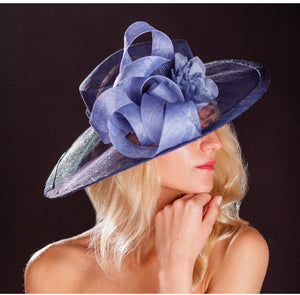 Navy large brimmed wedding hat