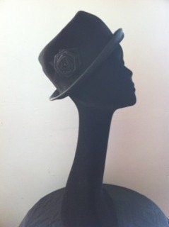 black soft trilby/ bowler hat