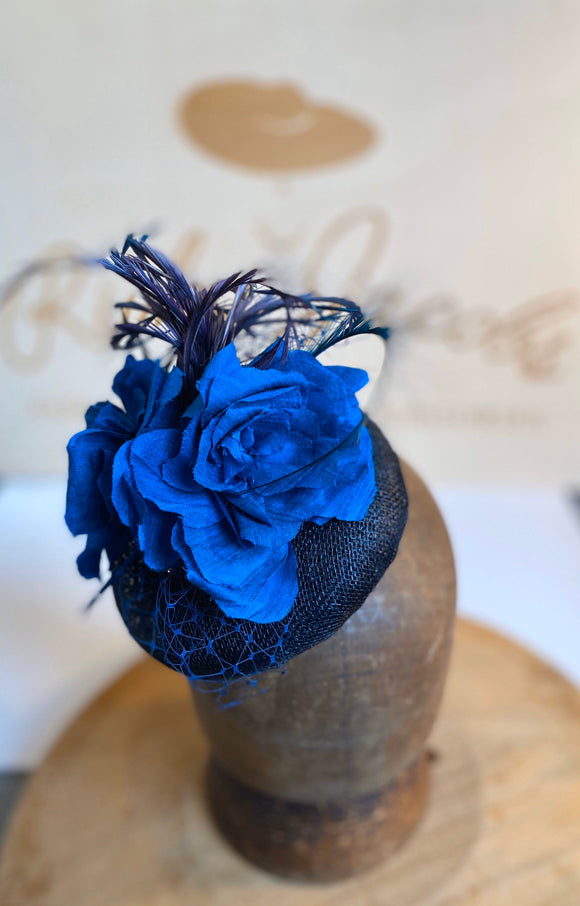 Navy blue and turquoise beret hat with silk flowers, feathers and veiling. rivka jacobs millinery