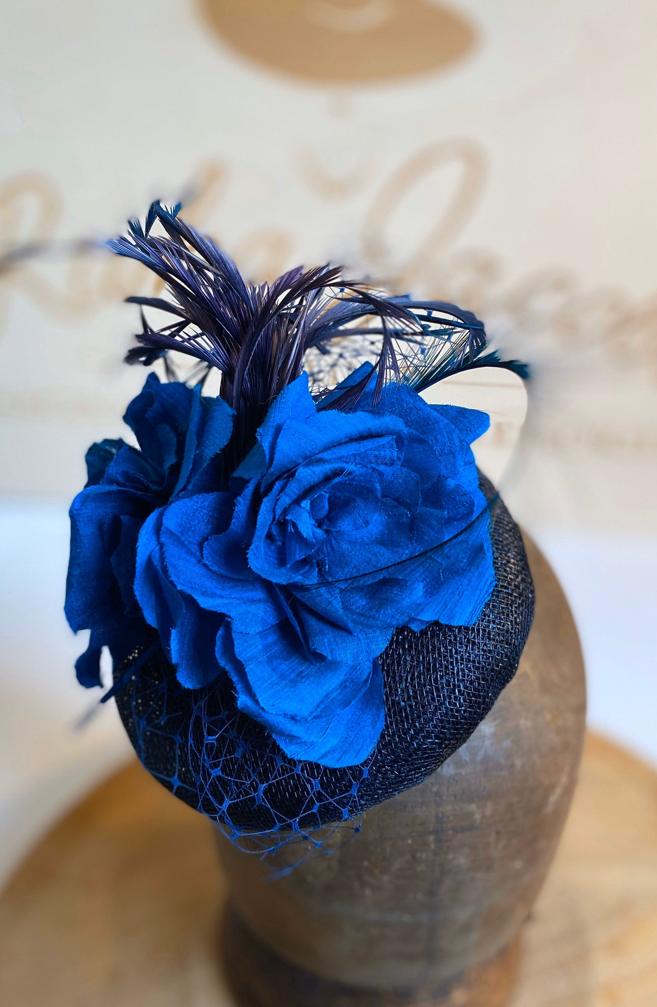 Navy blue and turquoise delightful wedding hat