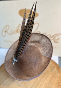 Brown saucer hat with pheasant feathers