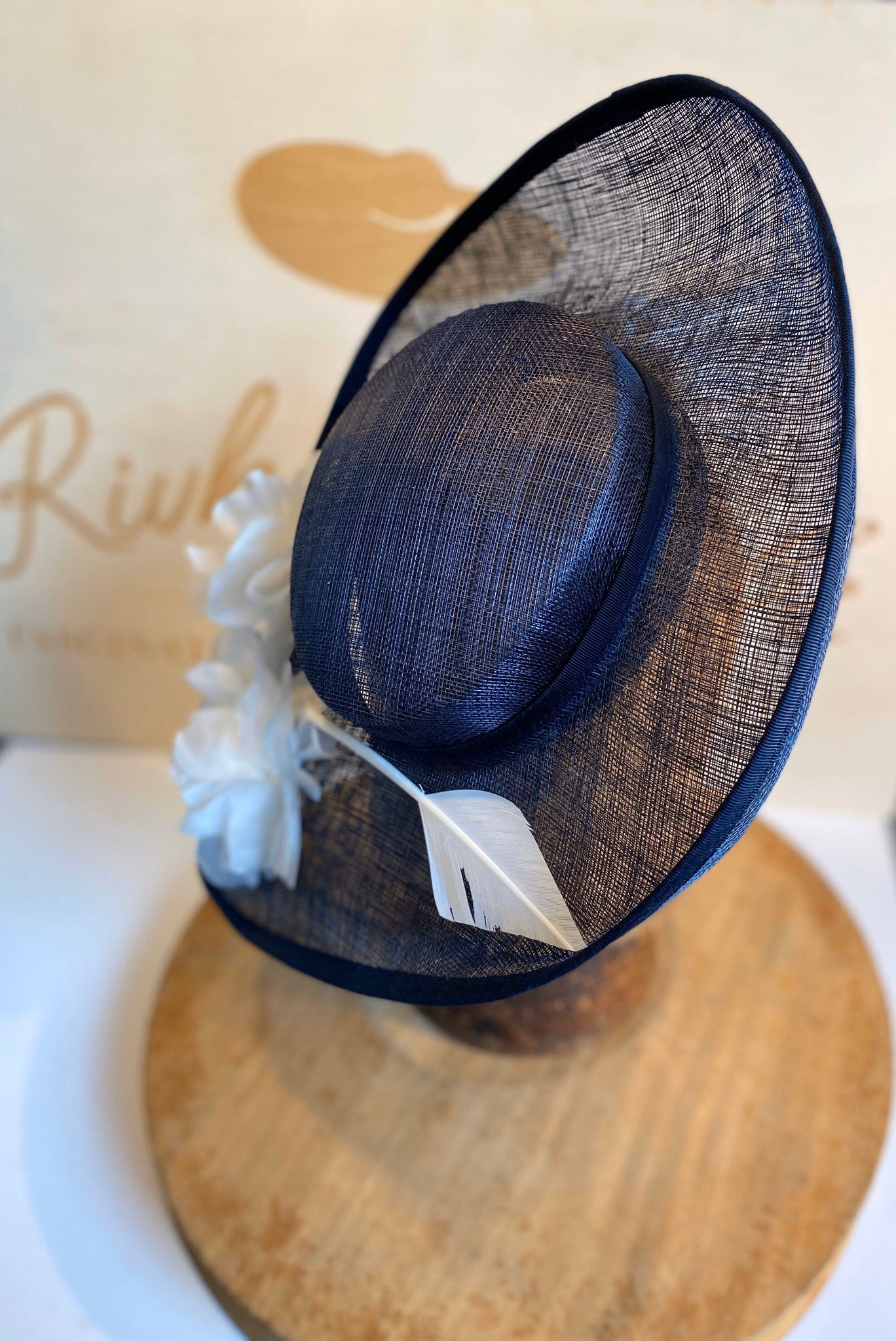 Navy blue  percher hat/fascinator