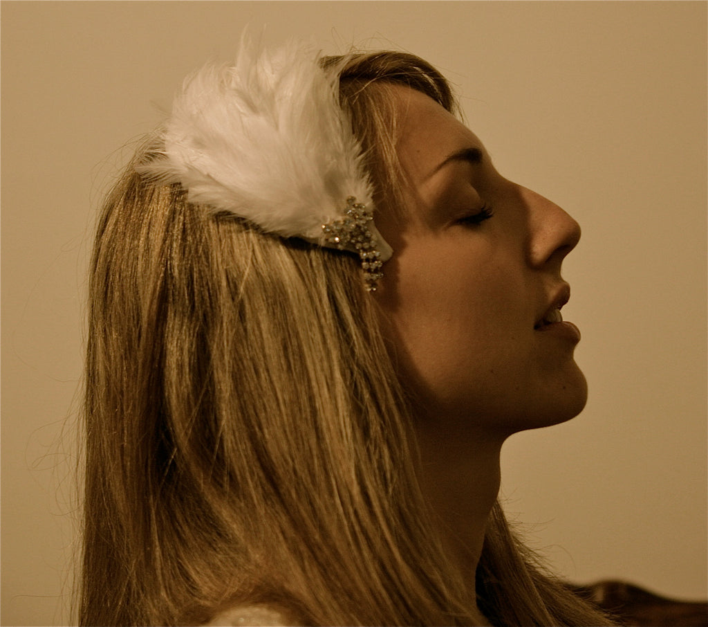 Bridal  white feather Fascinator with Vintage Brooch